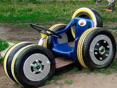 65 Ideas Backyard Kids Playground Old Tires Kids Outdoor Play, Kids Play Area, Backyard For Kids, Outdoor Fun, Diy For Kids, Kids Fun, Tire Playground, Playground Ideas, Tire Craft