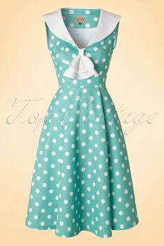 Dancing Days by Banned Rival Duck Egg Mint Green Polkadot Dress 102 49 15156 20160307 0003W