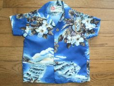 ALOHA SHIRT! BOYS infants TODDLER 18 mo HILO HATTIE HAWAIIAN s/s blue FLORAL euc