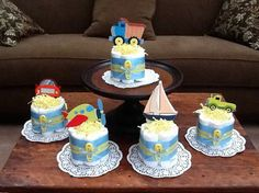 Transportation Theme Cars trucks planes Diaper Cakes Baby Shower Centerpiece other styles, colors and sizes available