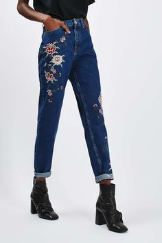 MOTO Dark Blue Embroidered Mom Jeans - Jeans - Clothing - Topshop