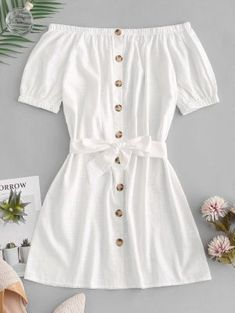 Button Up Off Shoulder Mini Dress - White S Source by joyceqmiranda clothes fashion moda Cute Summer Outfits, Cute Casual Outfits, Pretty Outfits, Stylish Outfits, Outfit Summer, Casual Summer, Girls Fashion Clothes, Teen Fashion Outfits, Girl Outfits