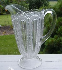 """EAPG """"BEADED DEW DROP"""" Tall Footed Pitcher (juice, water, milk, cocktail) c. 1870-1900, holds 28 oz., 7"""" x 4 1/4"""" x 8 3/4""""H"""