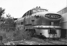 GM Aerotrain - Rust in peace. This is so painfull, I remember when it was brand new and on display on the Chicago Lake Front at the General Motors Powerama. EMD had two displays, one a oil rig powered by our engine, and the Aerotrain, Abandoned Train, Abandoned Buildings, Abandoned Houses, Abandoned Places, Diesel Locomotive, Steam Locomotive, Train Car, Train Tracks, Rust In Peace