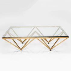 Art Deco Brass Square Glass Coffee Table