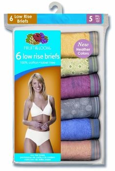 Fruit Of The Loom Womens 6 Pack Low Rise Brief Fruit of the Loom. $9.99. Heather fabrication reinforces the soft, comfortable hand. Basic cotton consumers looking for an alternative to traditional cotton prints and colors. 60% cotton/40% polyester. Machine wash