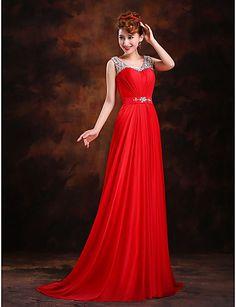 Formal Evening Dress - Burgundy A-line/Princess Scoop Sweep/Brush Train Silk – CAD $ 97.29