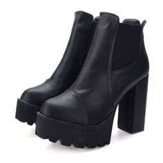 Elastic Back Zipper Ankle Platform Chunky Heel Knight Martin Boots ($19) ❤ liked on Polyvore featuring shoes, boots, chunky high heel boots, brown platform boots, brown high heel boots, black chunky heel boots and black brown boots