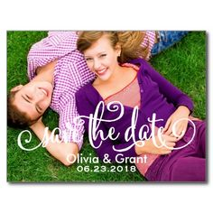 Photo Save the Date Post Cards | Modern Script Overlay Design