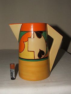 CLARICE-CLIFF-ART-DECO-FANTASQUE-BRANCH-SQUARES-CONICAL-LARGE-JUG-STUNNING