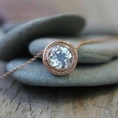 Rose Gold and White Topaz HALO Slide Necklace. $570.00, via Etsy.