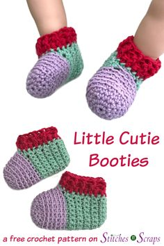 Crochet Baby Shoes Warm up little feet with these Little Cutie Booties! Blocks of bright, berry colors, and a bit of texture around the toes. There's a video tutorial too! Crochet Baby Socks, Crochet Baby Blanket Beginner, Booties Crochet, Crochet Baby Clothes, Crochet Shoes, Easy Crochet, Baby Knitting, Free Crochet, Knitted Baby