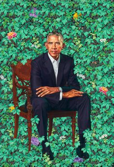 Kehinde Wiley's portrait of former President Barack Obama.