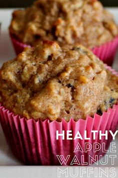Mary Ellen's Cooking Creations: Healthy Apple-Walnut Muffins Healthy Crockpot Recipes, Healthy Eating Recipes, Healthy Breakfast Recipes, Best Breakfast, Healthy Baking, Breakfast Ideas, Bread Recipes, Baking Recipes, Dessert Recipes