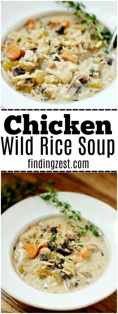 Have you ever tried making chicken wild rice soup? Get this delicious recipe for homemade Chicken and Wild Rice Soup. Use leftover rotisserie chicken to cut down on cooking time. This creamy soup is the perfect way to warm up on a cold day! #souprecipes #chicken #wildrice #soup #dinnerrecipes ##chickenrecipes #leftover