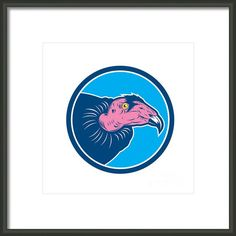 Vulture Head Circle Retro Framed Print By Aloysius Patrimonio