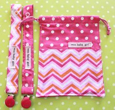 Pink Orange Chevrons Baby Girl Pacifier Clip and by sewmuch2luv, $15.00