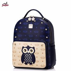 Just Star Brand Design Cute Owl Collage Fashion PU Leather Women Backpack Travel Bag For Girls