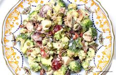Holiday Leftovers? Make Broccoli Salad with Roast Turkey, dates, grapes, all tossed with a lemony vegan mayo. #holidayeats, #holidays #thanksgiving #turkey #broccoli #veganmayo #glutenfree #dairyfree #easyrecipes #cooking #homemade #lowcal #healthy #delicious #yum