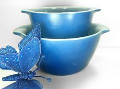 Blue Fire King Mixing Bowls Anchor Hocking by Chaseyblue on Etsy