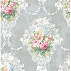 Garden Rose wallpaper in Pink, Purple,Wine, Tan by Seabrook from Wallquest Shabby Chic Wallpaper, Metallic Wallpaper, Brick Wallpaper, Modern Wallpaper, Geometric Wallpaper, Flower Wallpaper, Wallpaper Roll, Pattern Wallpaper, Tapestry Wallpaper
