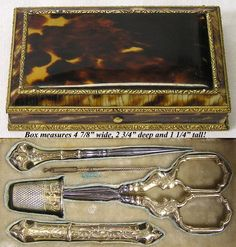 Rarest Antique French Boulle Sterling Sewing Etui, Tortoise Shell ALL from antiques-uncommon-treasure on Ruby Lane