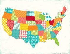 free printable patterned us map