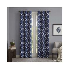 Becker Printed Fret Grommet Top Curtain Panel Pair Indigo found on Polyvore featuring polyvore, home, home decor, window treatments, curtains, blue, grommet curtain panels, blue valance, target curtains and blue grommet panels
