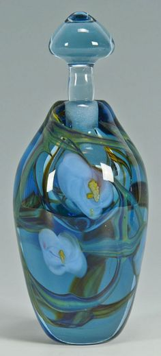 Beautiful perfume bottle, gorgeous color.  By Richard Jolley.