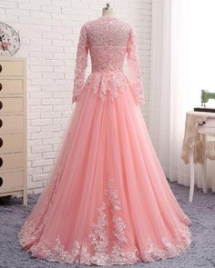 Pink lace customize unique long formal prom dress with sleeves from Sweetheart Dress Indian Wedding Gowns, Wedding Gowns With Sleeves, Indian Gowns Dresses, Pakistani Bridal Dresses, Indian Fashion Dresses, Prom Dresses With Sleeves, Cheap Prom Dresses, Stylish Dresses, Evening Dresses