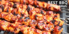 The Best BBQ Chicken Kebabs Recipe - Fabulessly Frugal - Atıştırmalıklar - Las recetas más prácticas y fáciles Grilled Fish Recipes, Healthy Grilling Recipes, Skewer Recipes, Seafood Recipes, Healthy Meals, Cooking Recipes, Grilled Meat, Dinner Recipes, Slow Cooking
