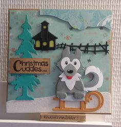 Christmas Cards, Xmas, Husky, Craft Punches, Paper Crafts, Diy Crafts, Marianne Design, Decoupage Paper, Animal Cards