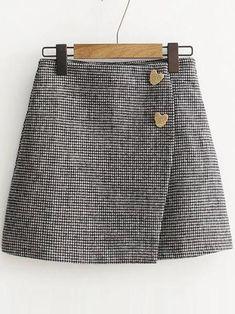 Heart Button Wrap Skirt