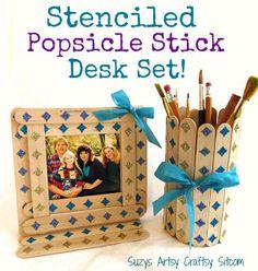 stenciled popsicle stick desk set - DIY Mod Podge Rocks Peel & Stick Stencils