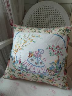 Hungarian Embroidery Pattern Embroidered Pillow - Nostalgia at the Stone House Hungarian Embroidery, Vintage Embroidery, Ribbon Embroidery, Vintage Sewing, Embroidery Stitches, Embroidery Patterns, Vintage Wood, Embroidery Alphabet, Embroidery Sampler