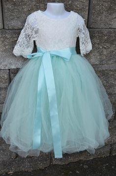 Flower girl Tutu dress set , Girls Aqua Mint Long Tulle Skirt lace blouse, Aqua Tutu, Skirt blouse set , Girls Tutu, Flower girl dress, Aqua by MaidenLaneBoutique on Etsy https://www.etsy.com/listing/218258369/flower-girl-tutu-dress-set-girls-aqua