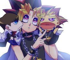 Tags: Anime, Yu-Gi-Oh!, Millennium Puzzle, Chain, Yami Yugi, Kaiba Seto, Coat Over Shoulders