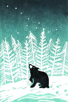Tree graphic design illustrations simple 41 ideas for 2019 Winter Illustration, Bear Illustration, Christmas Illustration, Doh Vinci, Impression Textile, Linoprint, Winter Art, Winter Snow, Art Graphique