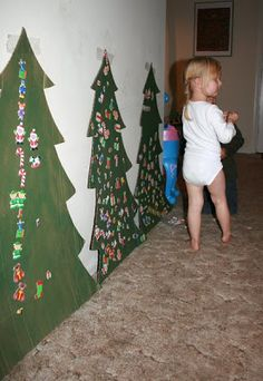 Large Christmas trees as decorations.