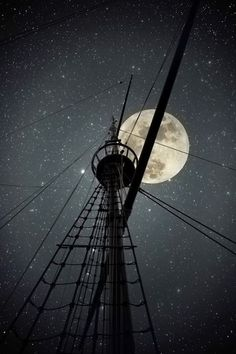 Moon behind the topmast & cables of an old Portuguese ship by Zacarias Pereira da Mata