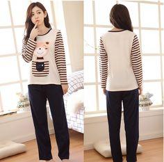CW20946 Korean style pajamas autumn and winter sets for women
