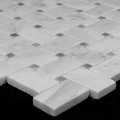 Carrara Marble Italian White Bianco Carrera Basketweave Mosaic Tile with Bardiglio Gray Dots Honed Carrara Basketweave Tile Gray Dot Bathroom Interior Design, Bathroom Styling, Bathroom Storage, Bathroom Cleaning, Bathroom Organization, Bathroom Floor Tiles, Tile Floor, Carrara Marble Bathroom, Bathroom Cabinets