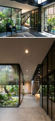Contemporary House In Mexico Is Surrounded By Nature This modern house has a glass wall that shows off the internal courtyard from hallway.This modern house has a glass wall that shows off the internal courtyard from hallway. Future House, Casa Patio, Design Exterior, Wall Exterior, Exterior Stairs, Exterior Windows, Stucco Exterior, Brick Design, Building Exterior