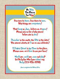 Dr Seuss baby invites