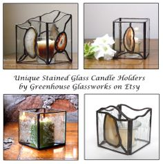 Unique Stained Glass Candle Holders found at Greenhouse Glassworks on Esty (pretty with agate slices for a mini terrarium)