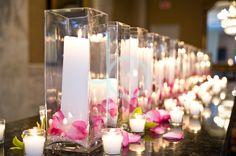Pillar candles with votives, pink petals and green cymbidium orchids Pink Green Wedding, Pink Wedding Theme, Pink And Green, Wedding Flowers, Candles In Fireplace, Pillar Candles, Beach Wedding Inspiration, Wedding Ideas, Cymbidium Orchids