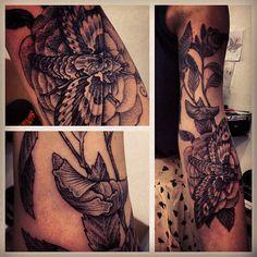 Moth and rose tattoo | gregorio marangoni