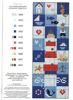 Cross Stitch Charts, Cross Stitch Patterns, Knitted Jackets Women, Stitch 2, Christmas Cross, Summer Crafts, Cross Stitching, Bookmarks, Embroidery Patterns