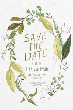 green leaf water colour wedding invitation - brides of adelaide