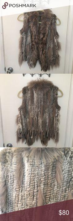 Real Fur Vest 75% rabbit fur, 22% raccoon fur, 3% cotton, this vest is size small, by Caribbean Queen. Caribbean Queen Jackets & Coats Vests